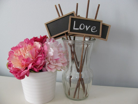 Chalkboard Signs on Stick Photo Booth Props  Reception Buffet Table Numbers Candy Bar Signs and more Set of 5 Personalize for FREE