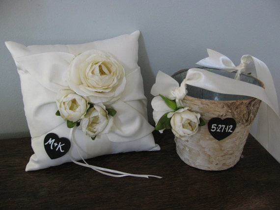 Rustic Flower Girl Basket and Ring Bearer Pillow SET Natural Birch Bark shown Ivory Ranunculus with Chalkboard Tags