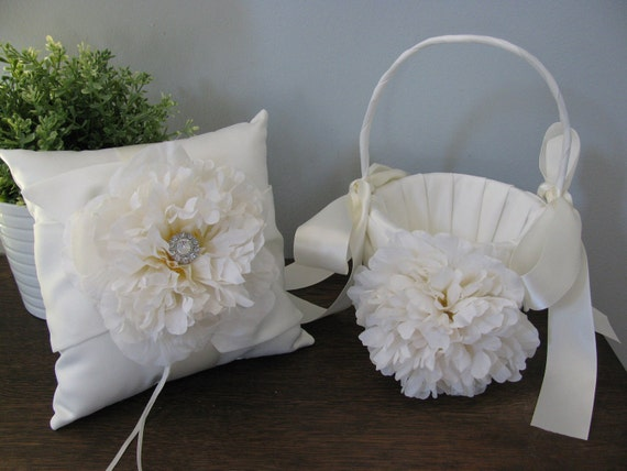 Flower Girl Basket and Ring Bearer SET Ivory or White Satin Ivory Peonies Ivory Accessories with Rhinestone- Can Customize Your Colors