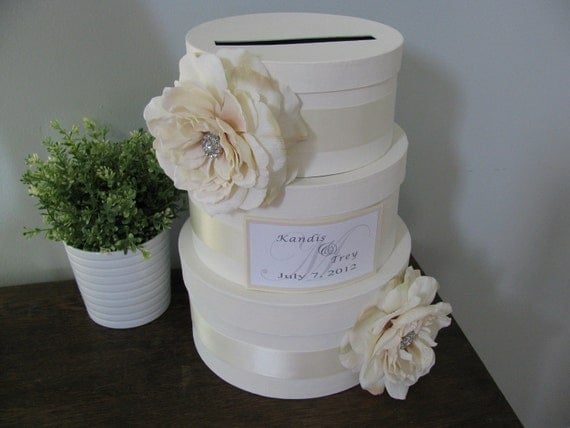 Vintage Glam Wedding Card Box Modern 3 tiered with ivory ribbon and roses with rhinestones personalized tag You Customize Colors and Flowers