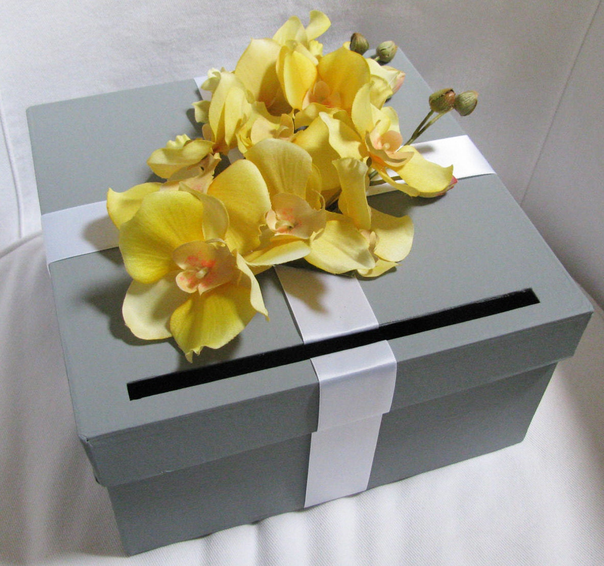 Yellow And Grey Wedding Flowers: Wedding Card Box Gray With Yellow Orchids Custom By
