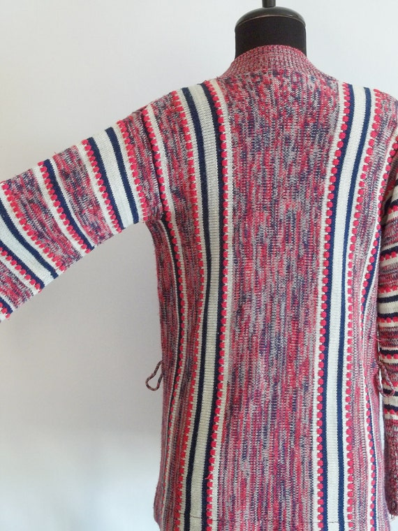 vintage space dyed cardigan / cozy sweater / red white and blue