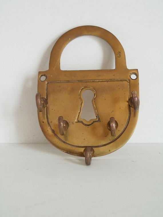 vintage padlock and key hook / 80s brass / home apartment decor