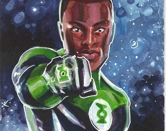"Green Lantern 6 by 6"" painting by Ben Dewey"