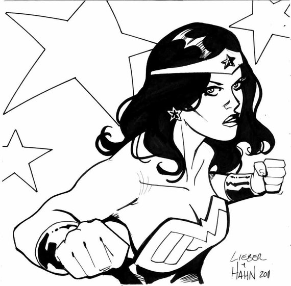 """Wonder Woman 6 by 6"""" sketch by David Hahn and Steve Lieber"""