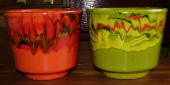 Vintage Pair Usa Bright Green Amp Orange Flower Pots Planters