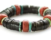 Nepali yak bone faux coral, turquoise and black palm nut bracelet