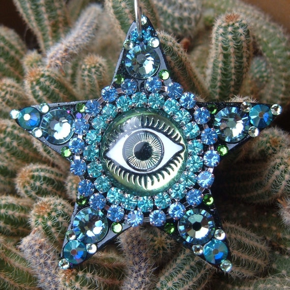 "Beacon, 2 1/4"" shining star, mystical third eye, shimmery blue green, glittery star, magical faerie adornment"