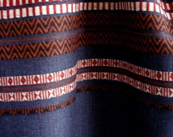 "Woven Wool Blend Fabric in Navy Blue with Stripes in White, Red and Brown. Ethnic Folk Style Couture Material. Remnant. 81"" x 61"""