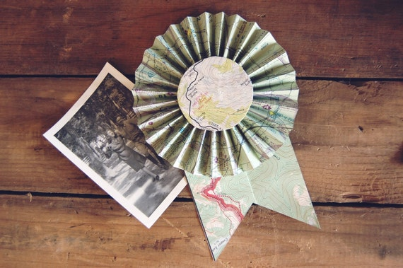 Recycled Map Prize Ribbon