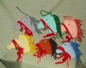 Handmade Candy Cane Horse Ornaments Set of 6 Crochet