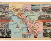 Southern California Romantic Highways Road Map linen postcard