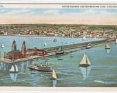Navy Pier Boats Yacht Chicago Illinois 1920s postcard