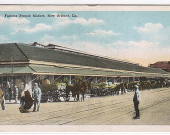 French Market New Orleans Louisiana 1918 postcard