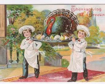 Young Chefs Carrying Turkey Thanksgiving 1907 embossed postcard