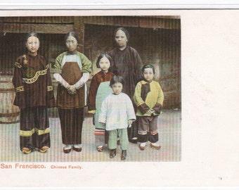 Chinese Family Chinatown San Francisco California 1905c postcard