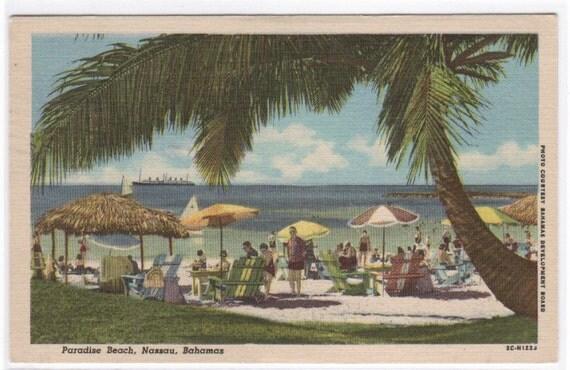 ON SALE TO OCT 3 Paradise Beach Nassau Bahamas 1953 linen postcard