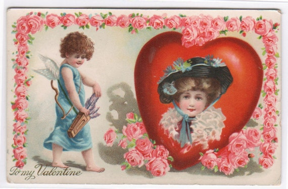 To My Valentine Cupid Heart Beautiful Girl 1910c postcard