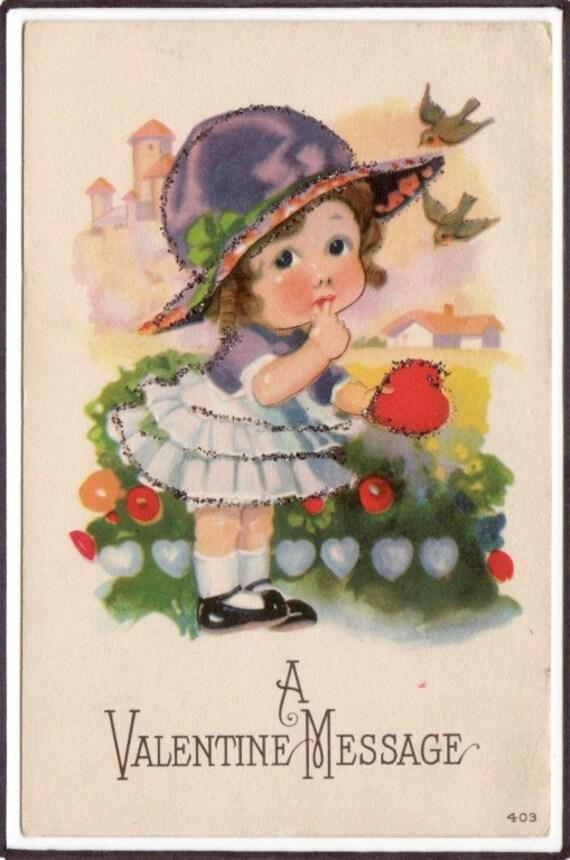 Little Girl with Hat Heart Valentine Day glitter 1910c postcard