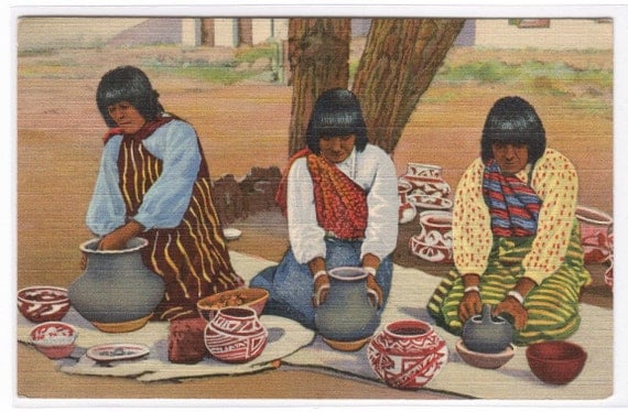 Pueblo Indian Women Making Pottery New Mexico 1944 Linen