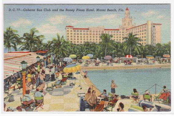 Cabana Club Pool Plaza Hotel Miami Beach Florida postcard