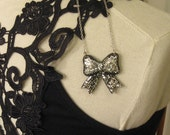SALE - Bow Necklace - Black with Silver Glitter