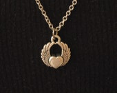 Winged Heart - Necklace - Antiqued Silver