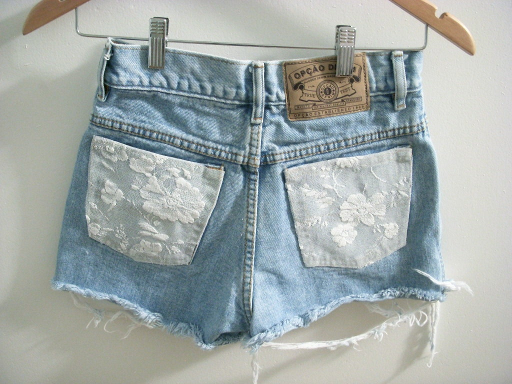 Lace Denim Shorts by littlebitsofice on Etsy