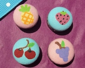 Festive Fruit (Grapes, Cherries, Pineapple and Strawberry) Cotton Button Magnets Set of 4