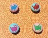 Piglets on Cotton Button Magnets Set of 4