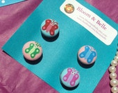 Butterfly Cotton Button Magnets Set of 4