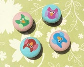 Owl Cotton Button Magnets- Set of 4