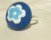 Cotton Button Blue Flower Ring