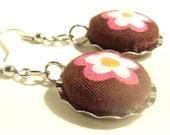 Cotton Button Brown Flower Bottlecap Earrings