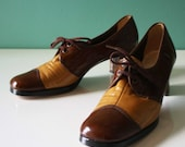 Vintage Brown and Tan Naturalizers Saddle Shoes 50s 60s NEW