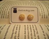 Golden Swirl Button Earrings