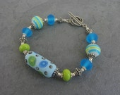 Lime Green and Aqua Artisan Glass Sterling Silver Bracelet Handmade Jewelry BooBeads