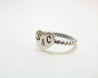 Personalized Initials Heart Ring Sterling Silver Stacking Ring Custom Made to Order