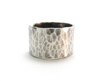 Sterling Silver Wide Band Ring Hammered Textured Darkened Silver Adjustable