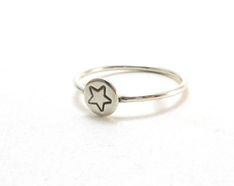 Sterling Silver Star Stacking Ring Handstamped Star Ring Stacking Ring