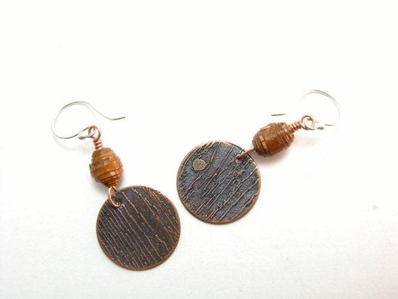 Woodland Etched Copper Wood Grain Pattern Earrings with Birch Wood Beads Mixed Metal Copper Sterling SIlver