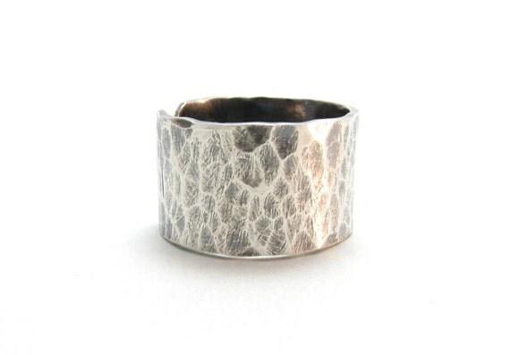 Sterling Silver Wide Band Ring Hammered Textured Darkened Silver Adjustable