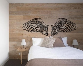 Angel Wings for Headboard - Vintage Inspired illustration -  Vinyl wall art decals by 3rdaveshore Handmade Surface graphics Kailua, Oahu 91