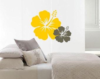 Nursery Hibiscus Flowers - Beach Baby Surfer Girl Room Decor - Vinyl wall art decals stickers by 3rdaveshore 75