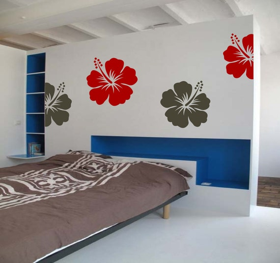 Hibiscus Mix Bliss - Totally Unique Hawaiian Inspired - Surf Art - Vinyl wall art decals by 3rdaveshore beach house decor 23