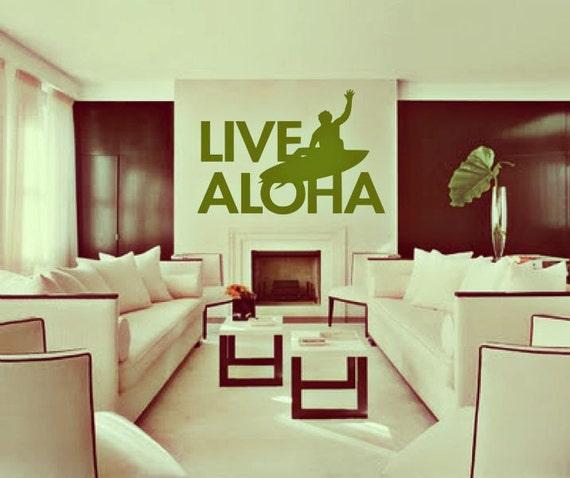HUGE Live Aloha - surf art - vinyl wall art decals stickers handmade in Hawaii by 3rdaveshore 130