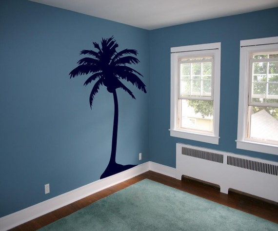 items similar to hawaiian coconut palm tree vinyl wall art removable decals stickers by. Black Bedroom Furniture Sets. Home Design Ideas