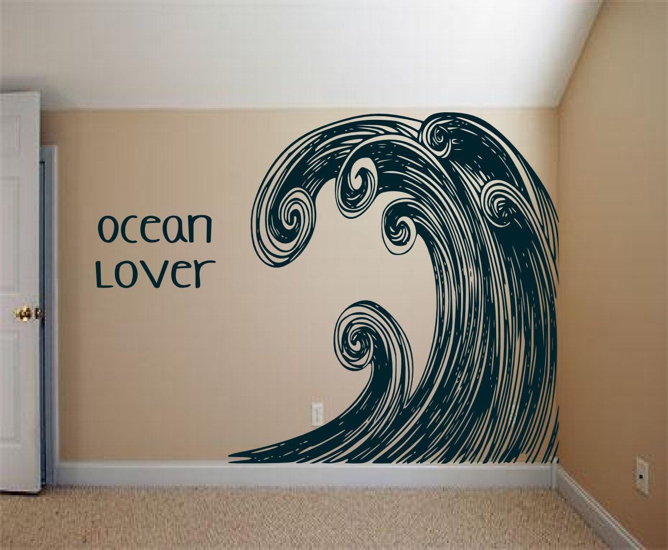Huge Surf Ocean Wave Swirl Art Vintage Inspired Vinyl