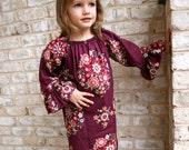 Burgundy Bouquet Ruffled Long Sleeve Peasant dress sizes 12m