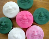 Handmade Shea Butter Glycerin Smiley Faces  2 soaps 1 oz each 2 PAck
